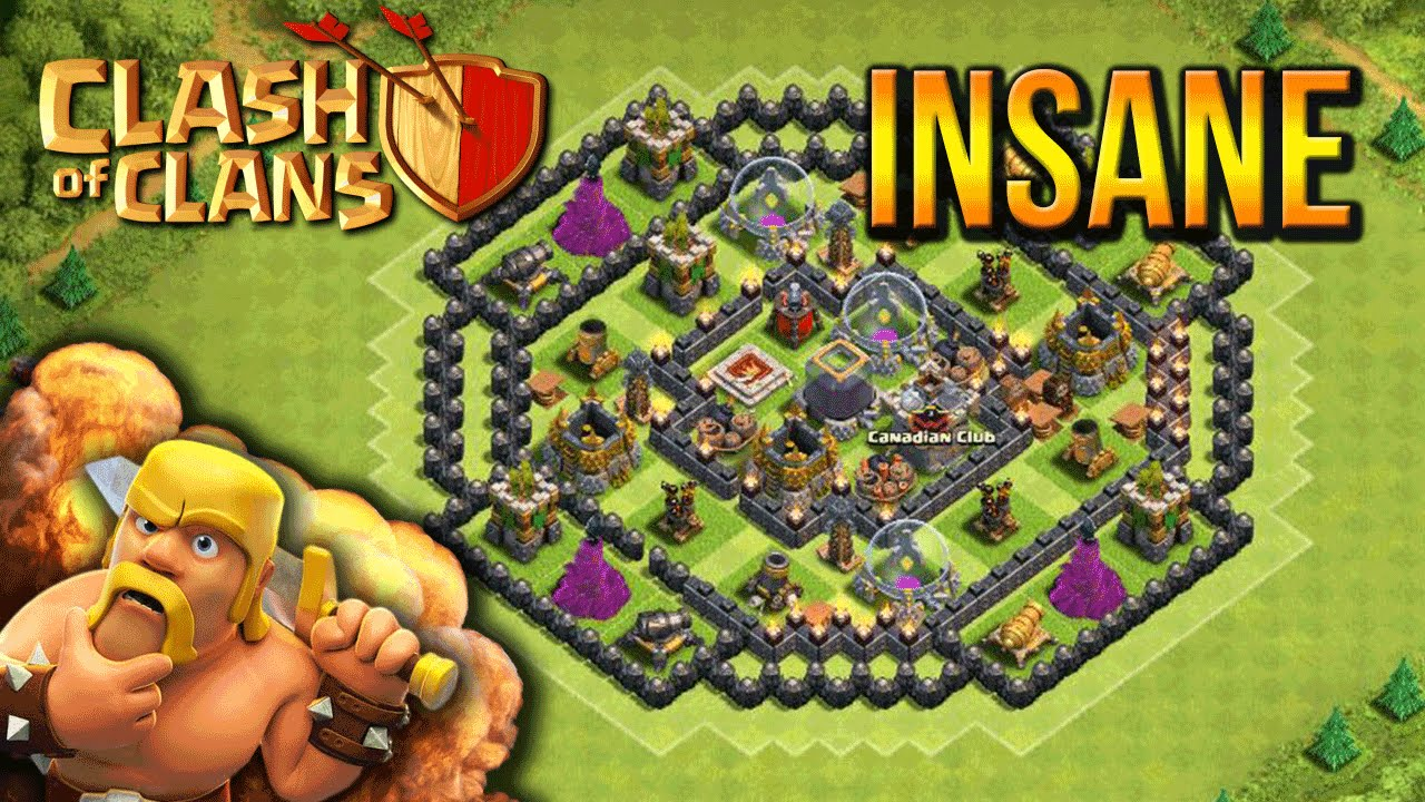 Town hall 8 hybrid base coc th8 best base layout 2015 youtube