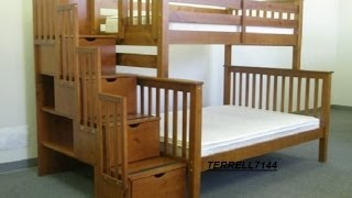 Trundle Bunk Bed Child Mission Bunkbed Twin Full Wood Staircase Style Storage Cupboards