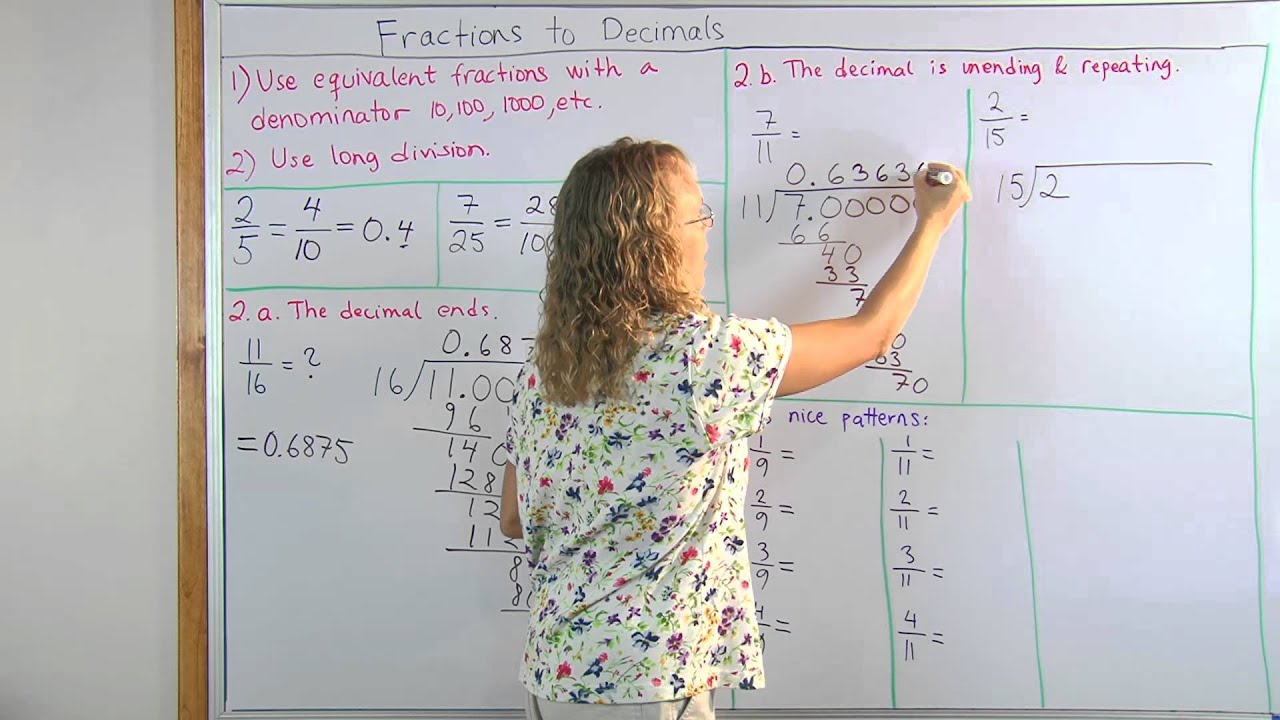 medium resolution of How to convert fractions into decimals - use long division or equivalent  fractions - YouTube
