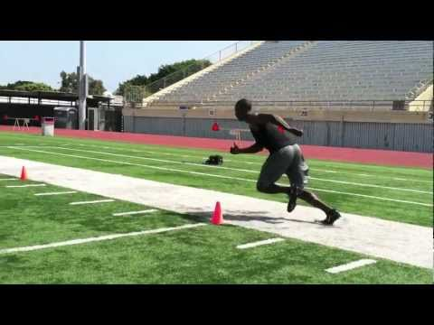 NFL DB footwork  drills w/ Coach O - 90&45 breaks out of backpeddle