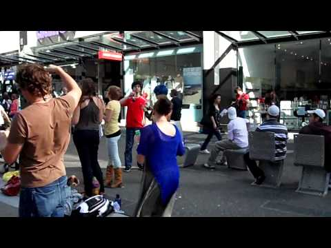 Busking and Bubbles on Granville Street, Vancouver
