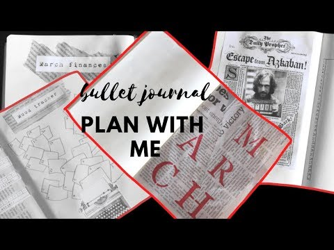 PLAN WITH ME! MARCH 2019 | Newspaper Theme | Bullet Journal