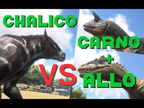 Chalicotherium VS Carno + Allosaurus || ARK: Survival Evolved