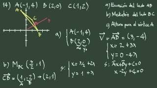Ejercicio 14 geometría analítica: lado, mediatriz y altura de un triángulo.
