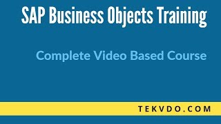 SAP BO (Business Objects) Online Training | SAP BO | tekvdo.com