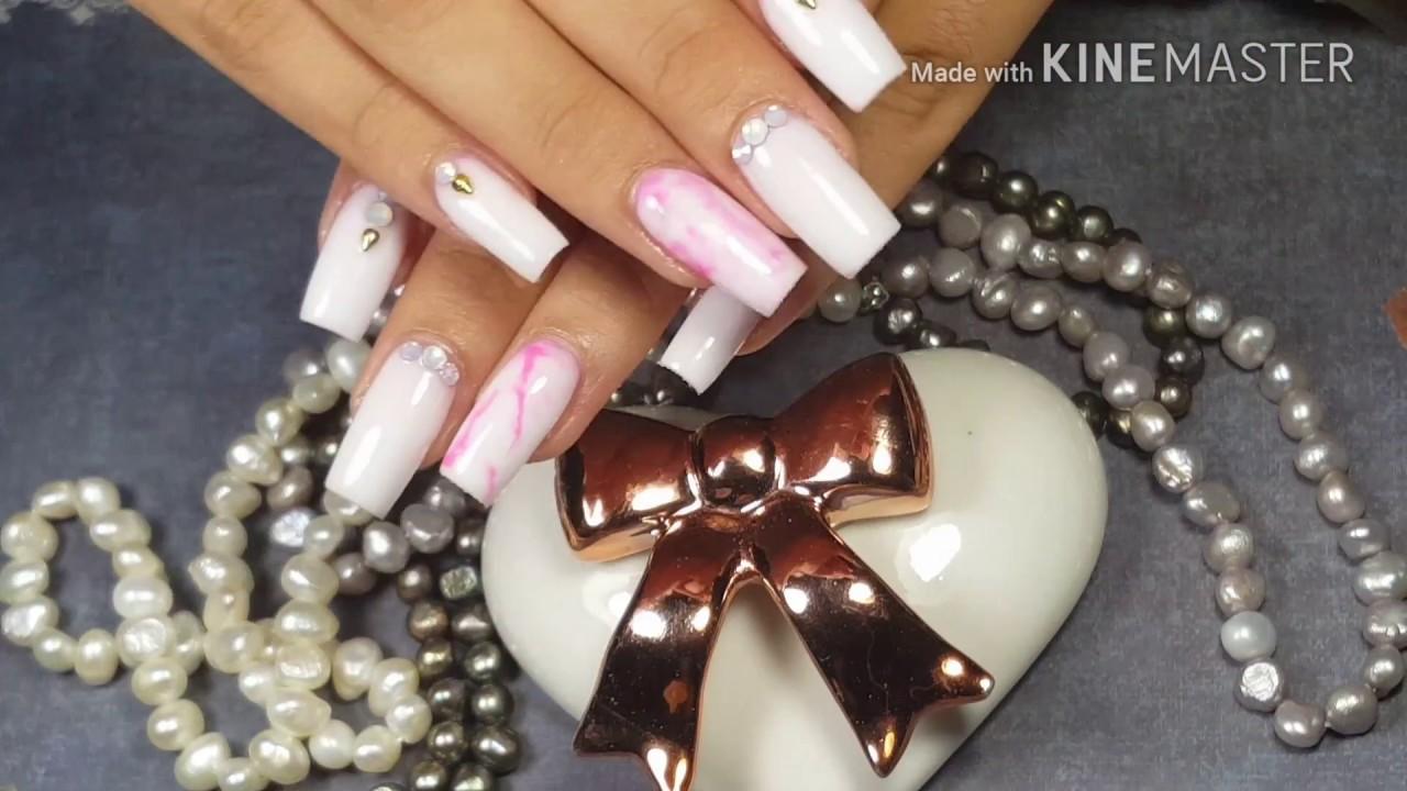 Uñas Acrilicas paso a paso / Uñas Blancas con mármol rosa / Diseño ...