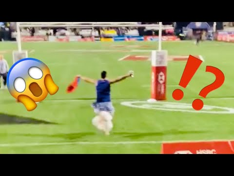 Asuelu Runs onto the Field at the USA Sevens Rugby Tournament  in Las Vegas🏉🙈