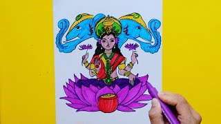 How to draw and color Goddess Lakshmi