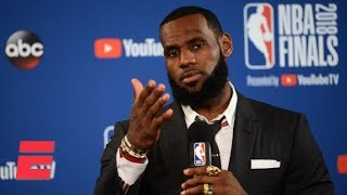 LeBron James walks out of Game 1 press conference after question about JR Smith's blunder | ESP