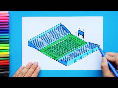 How to draw and color an American Football Stadium