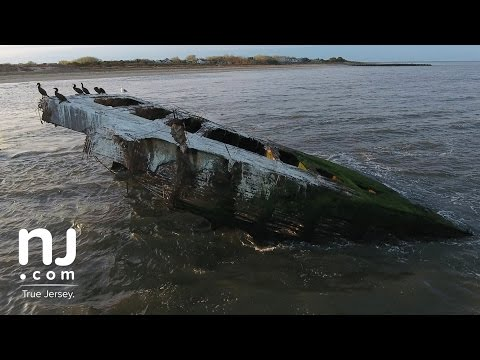 The wreck of the S.S. Atlantus slowly fading into Delaware Bay