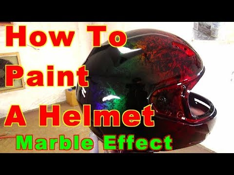 How To Custom Paint A Helmet SAMURAI PAINT Marble Effect Bow