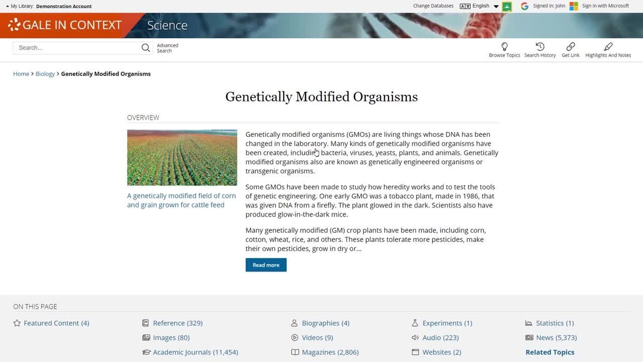 Gale In Context: Science Topic Pages
