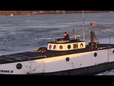 Bayfield's Fishing Fleet heading out this AM thorugh the ice - Very Cool!