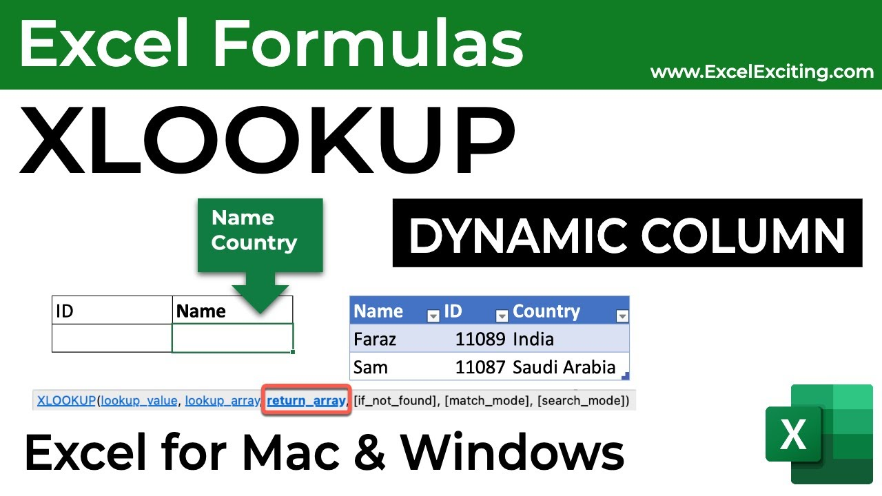 How to Return XLOOKUP column dynamically in Excel for Mac and ...