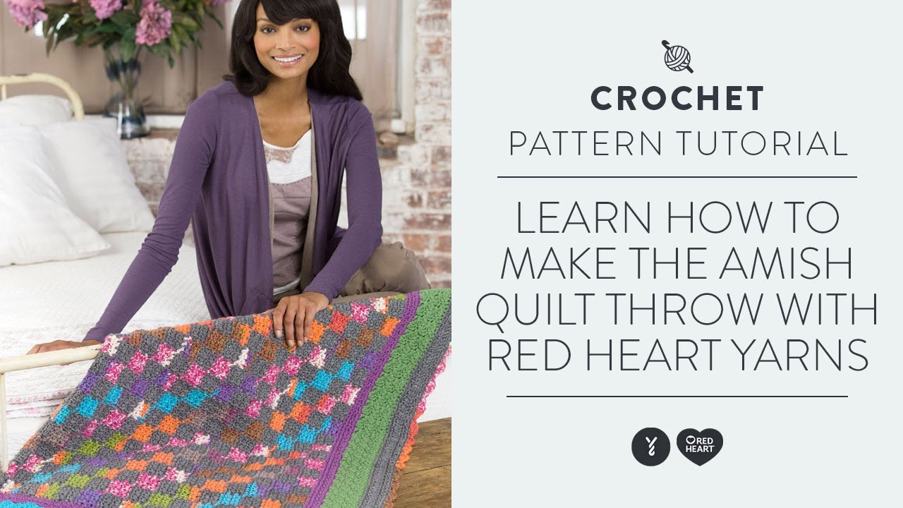 Learn How to Make the Amish Quilt Throw with Red Heart Yarns - YouTube : how to make an amish quilt - Adamdwight.com