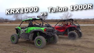 Kawasaki KRX1000 vs Honda Talon 1000R... drag and short course!
