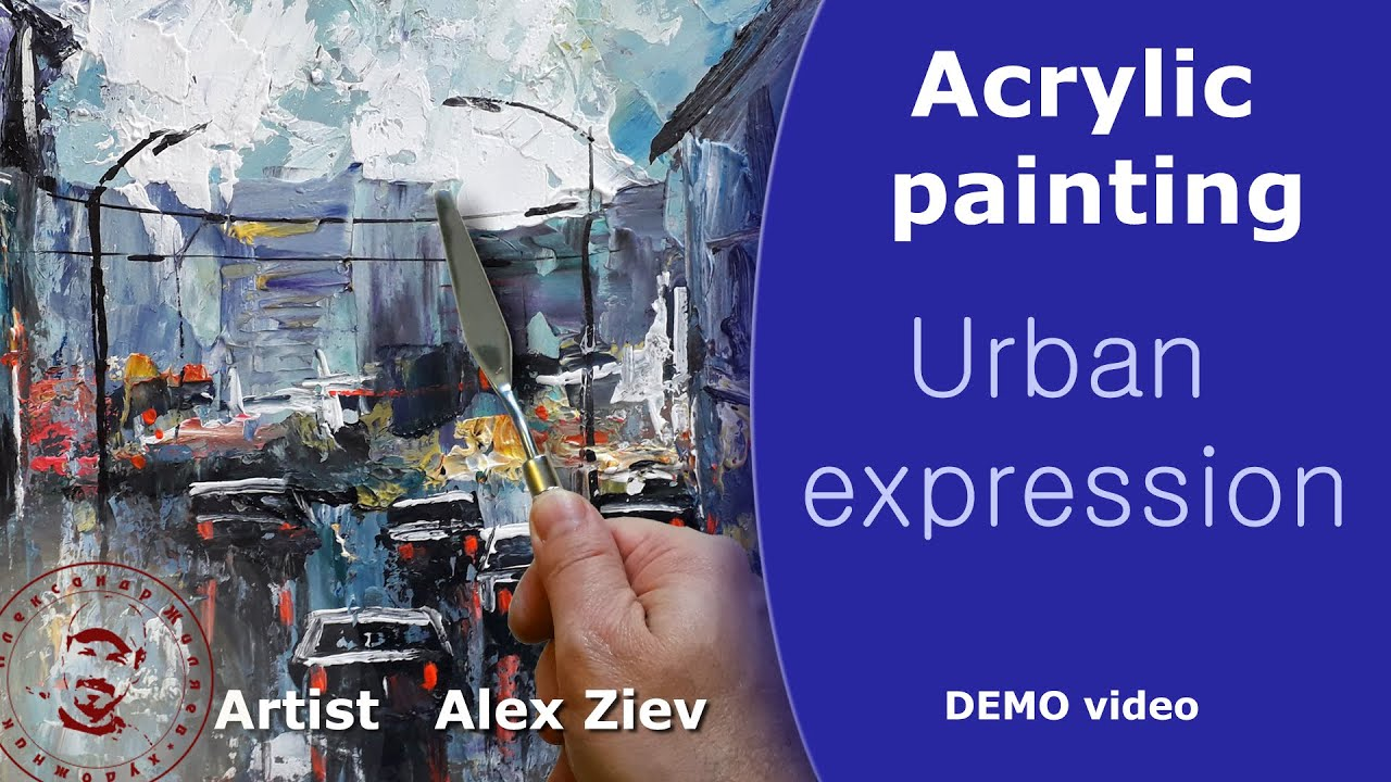 Painting palette knife  Draw a city