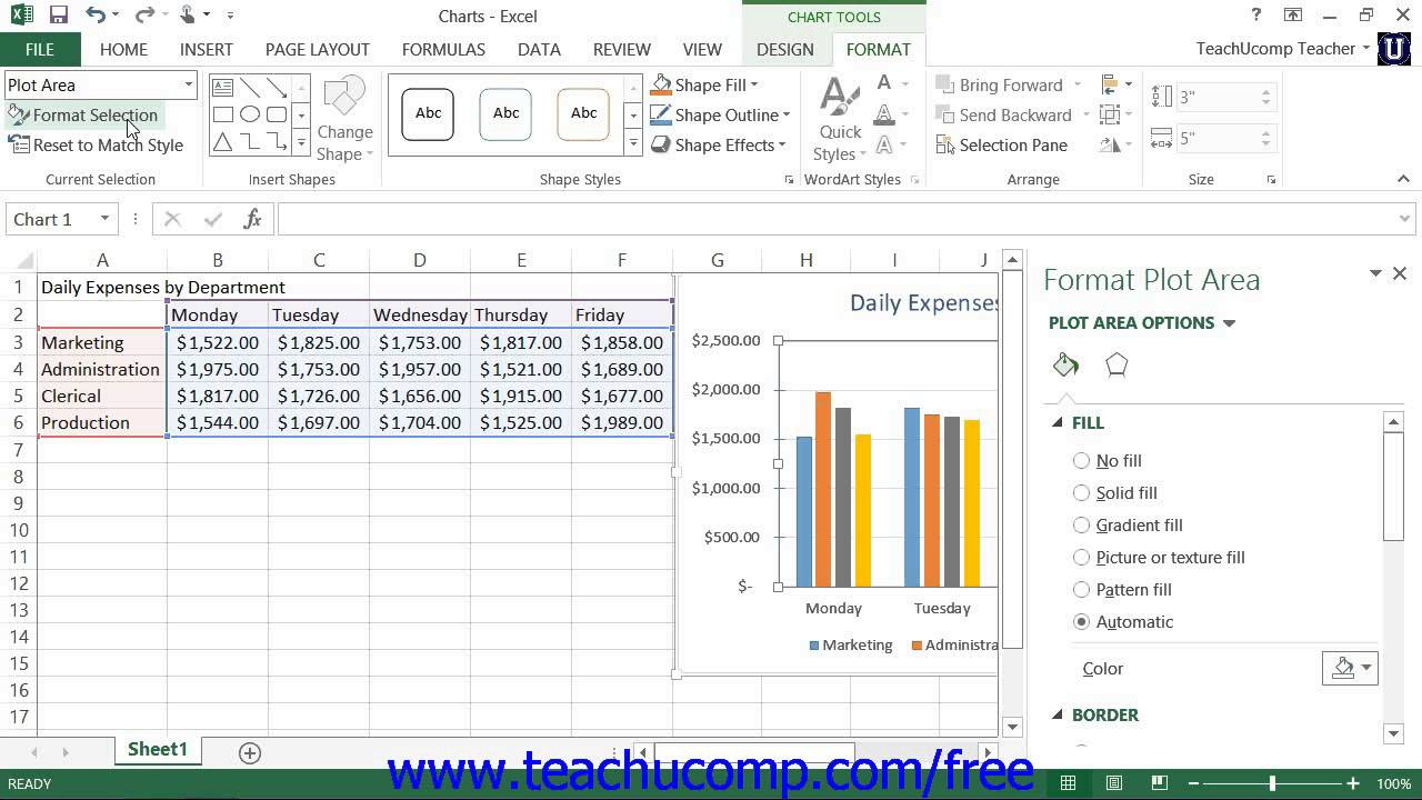 Excel tutorial formatting the chart and plot areas microsoft training lesson youtube also rh