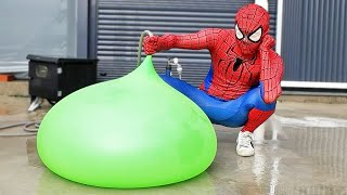 Spider Man Popping Giant Water Balloons!