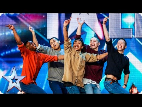 Golden buzzer act Boyband are back-flipping AMAZING! | Audition Week 2 | Britain