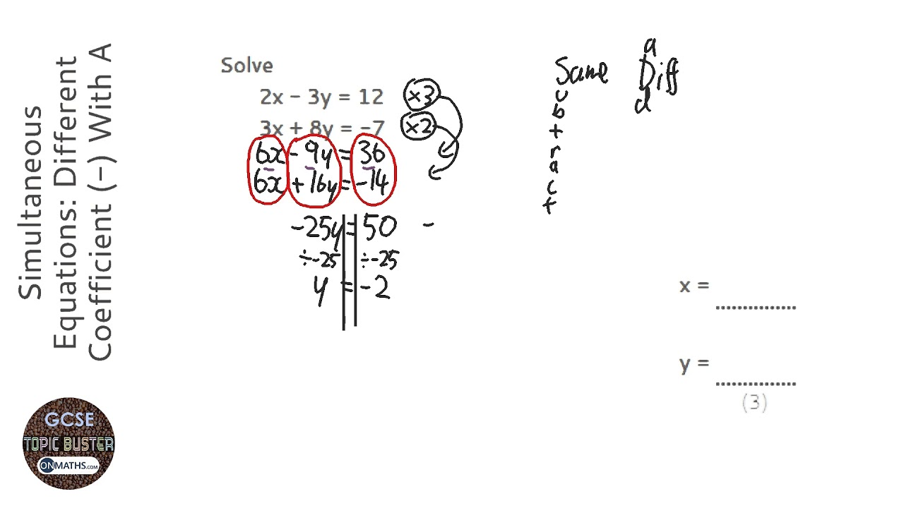 Simultaneous Equations: Different Coefficient (-) With A