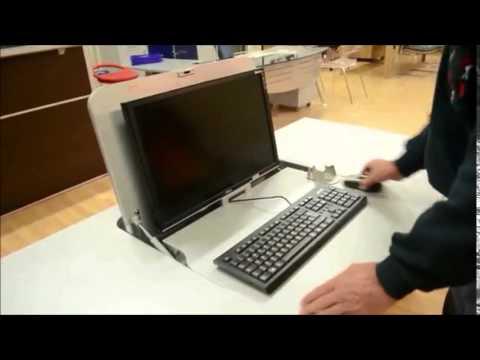 Scrivania Con Monitor A Scomparsa.Cattedra Multimediale Con Monitor A Scomparsa Youtube