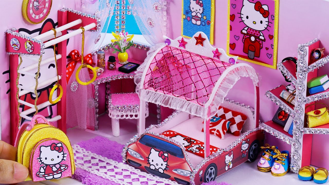 abf2bffc8edf DIY Miniature Dollhouse ~ Hello Kitty Room Decor