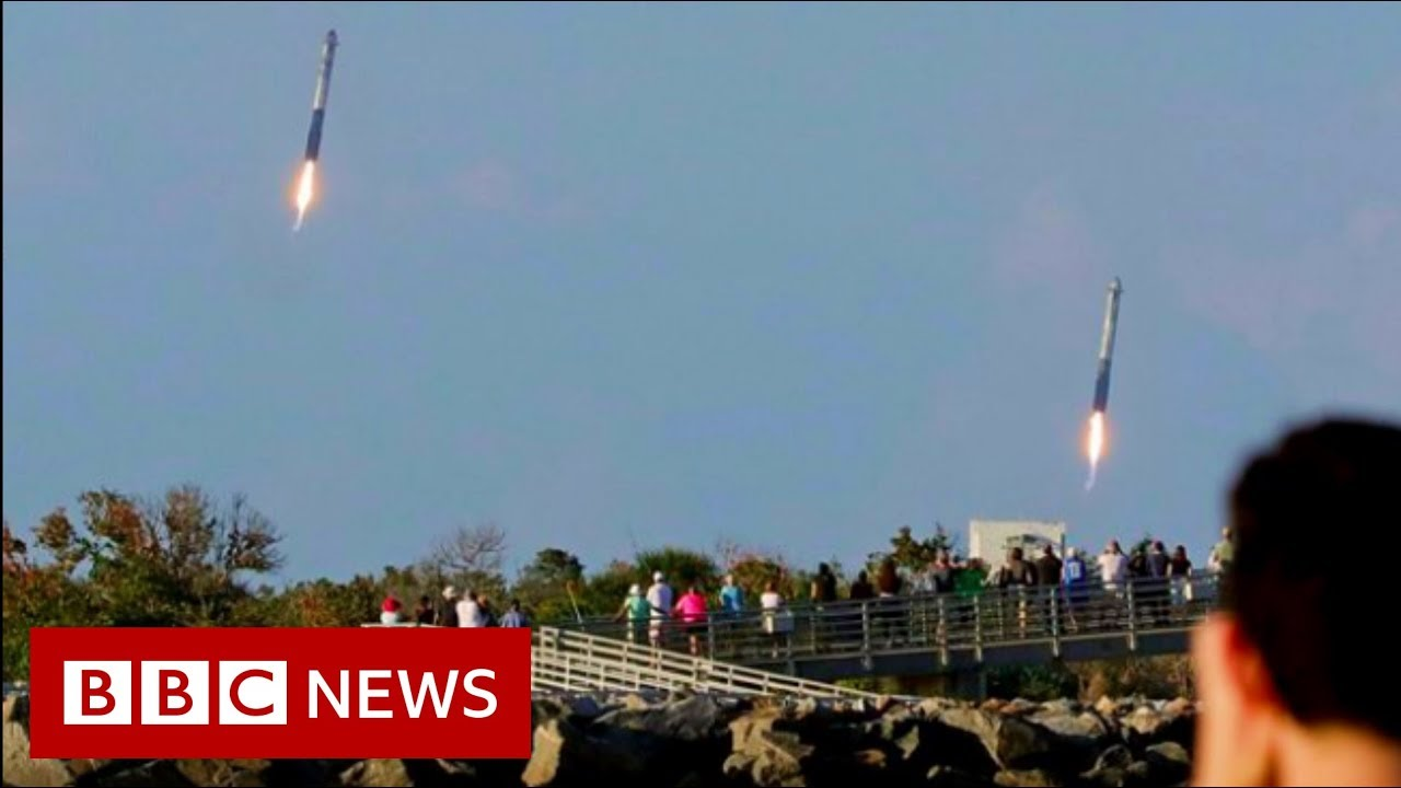 SpaceX nails triple booster landing - BBC News