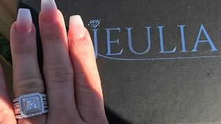 Jeulia Halo Princess Cut Created White Sapphire Enhancer Wedding Set SKU ## SG6C079