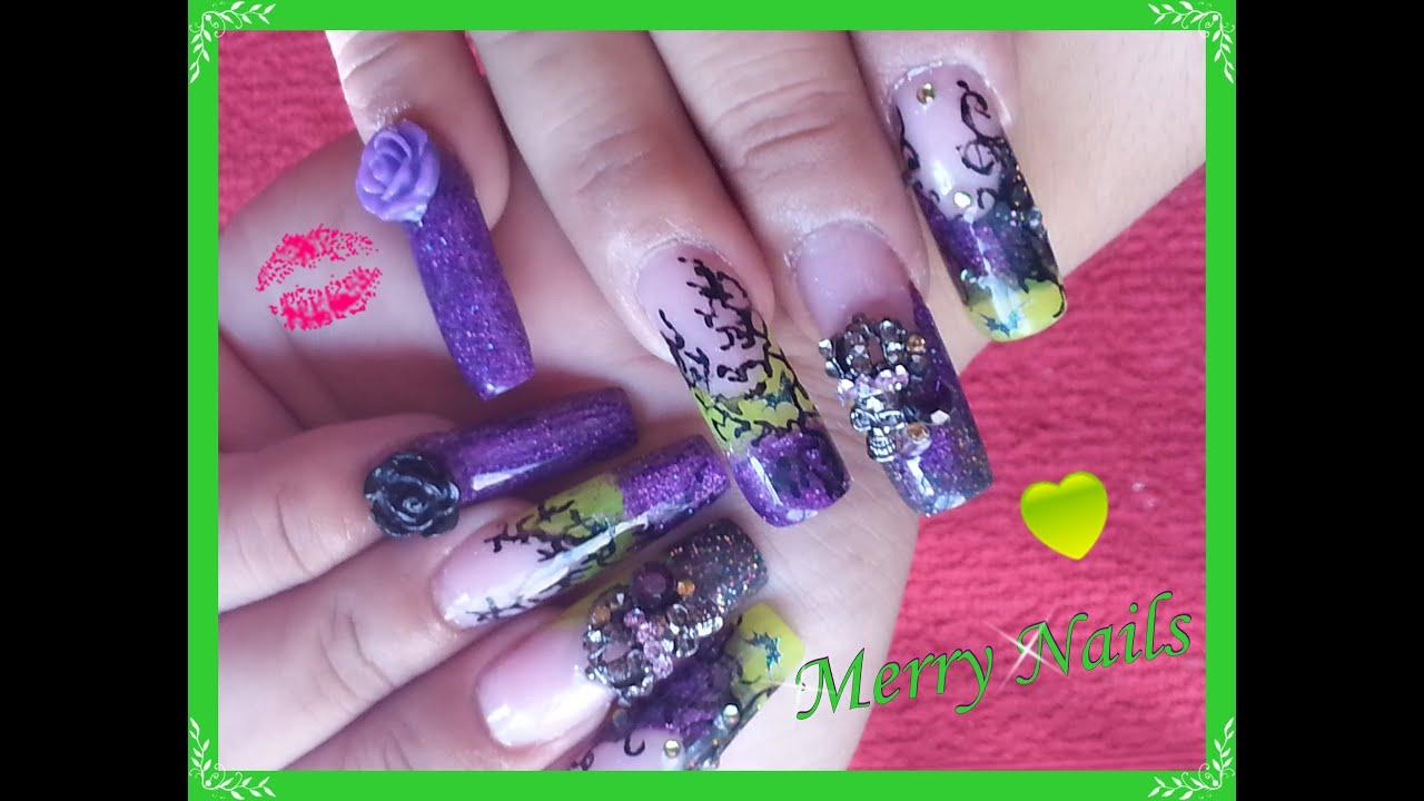 Diseño para el dia de brujas!! uñas acrilicas! - YouTube