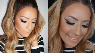 Peachy Cat eye  makeup Tutorial/ Desi Perkins Thumbnail