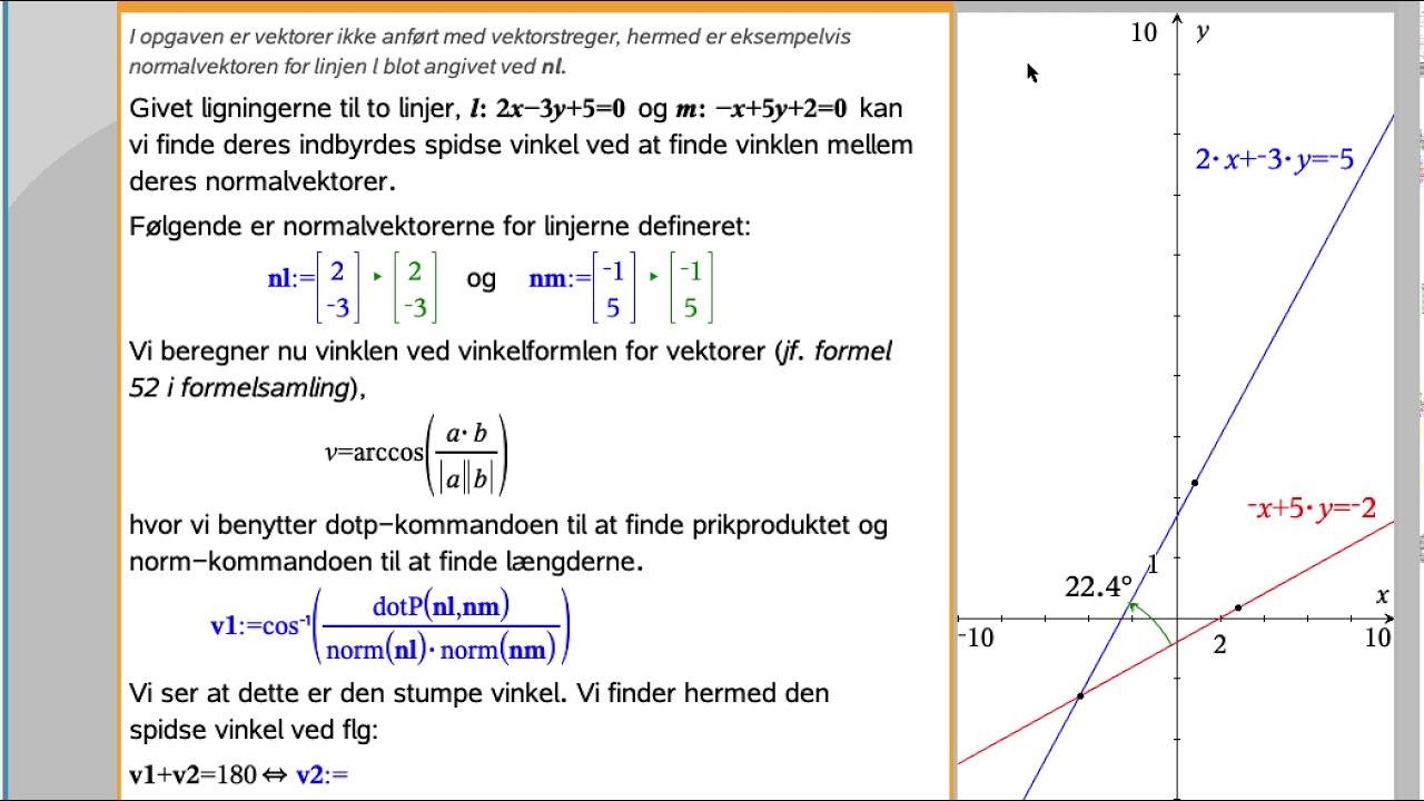 Beregning af vinkel mellem linjer beskrevet ved ligninger