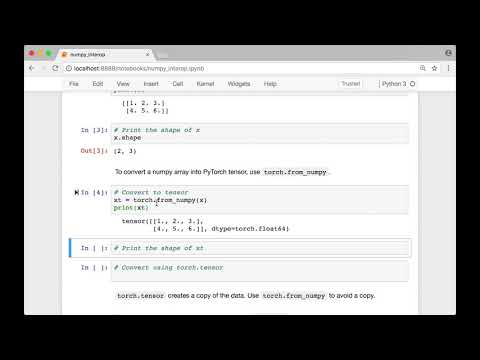 04 Convert Numpy arrays to PyTorch tensors and back - YouTube