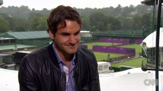 Roger Federer interviewed by Becky Andersson of CNN.