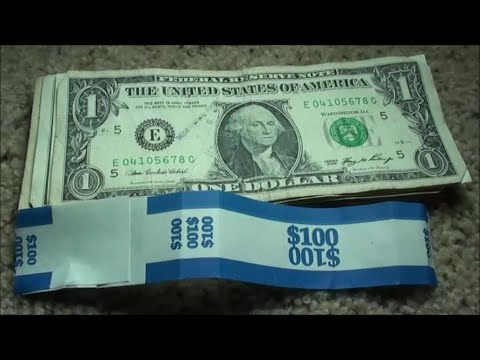 OLD U.S. BANKNOTES FOUND searching one dollar bills $1 CURRENCY STRAP HUNTING