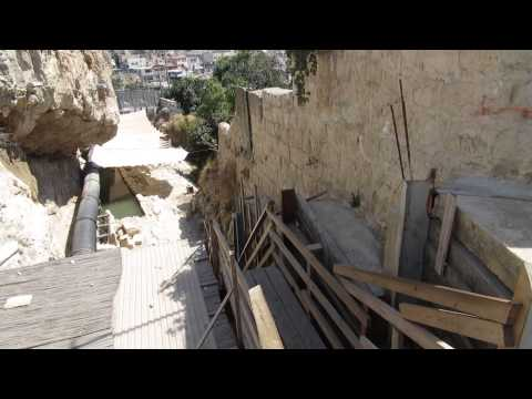 Moving from the fifth century AD Byzantine Shiloah Pool to the Siloam Pool built by Herod the Great