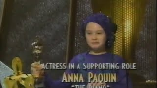 Anna Paquin winning Best Supporting Actress for The Piano