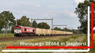 Rheincargo DE668 komt met Menath-trein en tyfoon door Staphorst