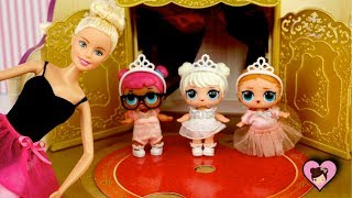 Barbie Ballerina LOL Surprise Dolls First Ballet Recital Toy Video