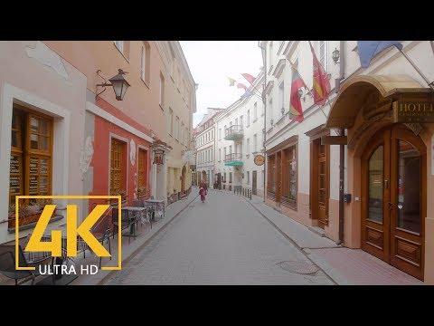 Vilnius, Lithuania - Walking Tour with City Sounds (4K 60fps) - Part #1