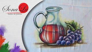 Jarra com Vinho em Tecido – Sonalupinturas