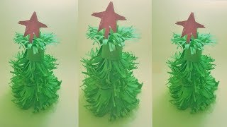 3D Color Paper Christmas Tree | How to Make a 3D Paper Xmas Tree DIY Tutorial step by step