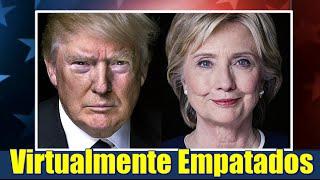 Trump y Clinton virtualmente empatados