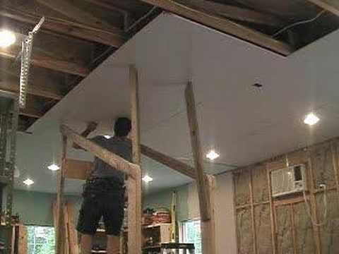 Hanging Drywall On 10 Ceiling W One Man Youtube