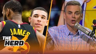 Colin Cowherd on the Lonzo Ball - Kuzma beef that'll deter LeBron from Lakers | NBA | THE HERD thumbnail