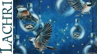Time lapse surreal bird, lightbulb & firefly speed painting in acrylic and airbrush by Lachri