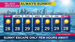 die Wettervorhersage für Tel Aviv und Jerusalem ist für diese Woche sonnig!