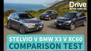 2018 Alfa Romeo Stelvio v BMW X3 v Volvo XC60 Comparison Review | Drive.com.au