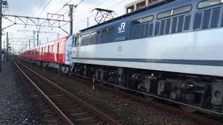 甲種輸送 EF65 2095号機+東京メトロ2000系(2102F)+ヨ8000形 豊田町駅通過